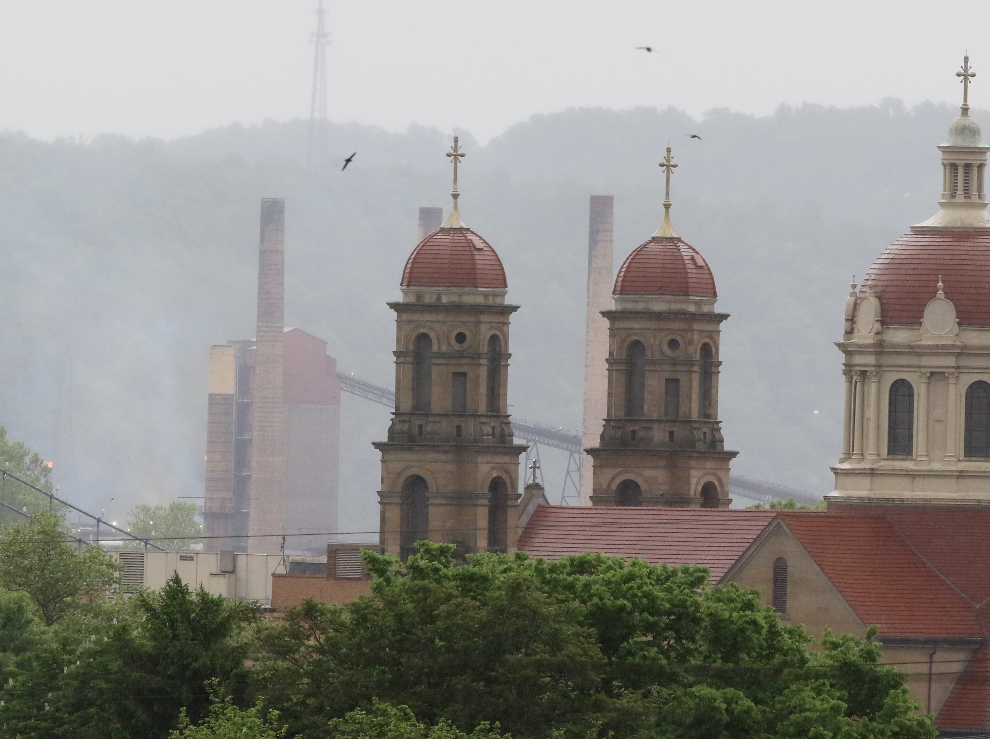 Smokestacks and church spires dominate the Steubenville, Ohio skyline.