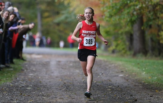 Daisy Liljegren, of Northern Highlands, is shown seconds before winning the Bergen County Cross Country Championship race with a time of 17:42.  Sunday, October 28, 2018