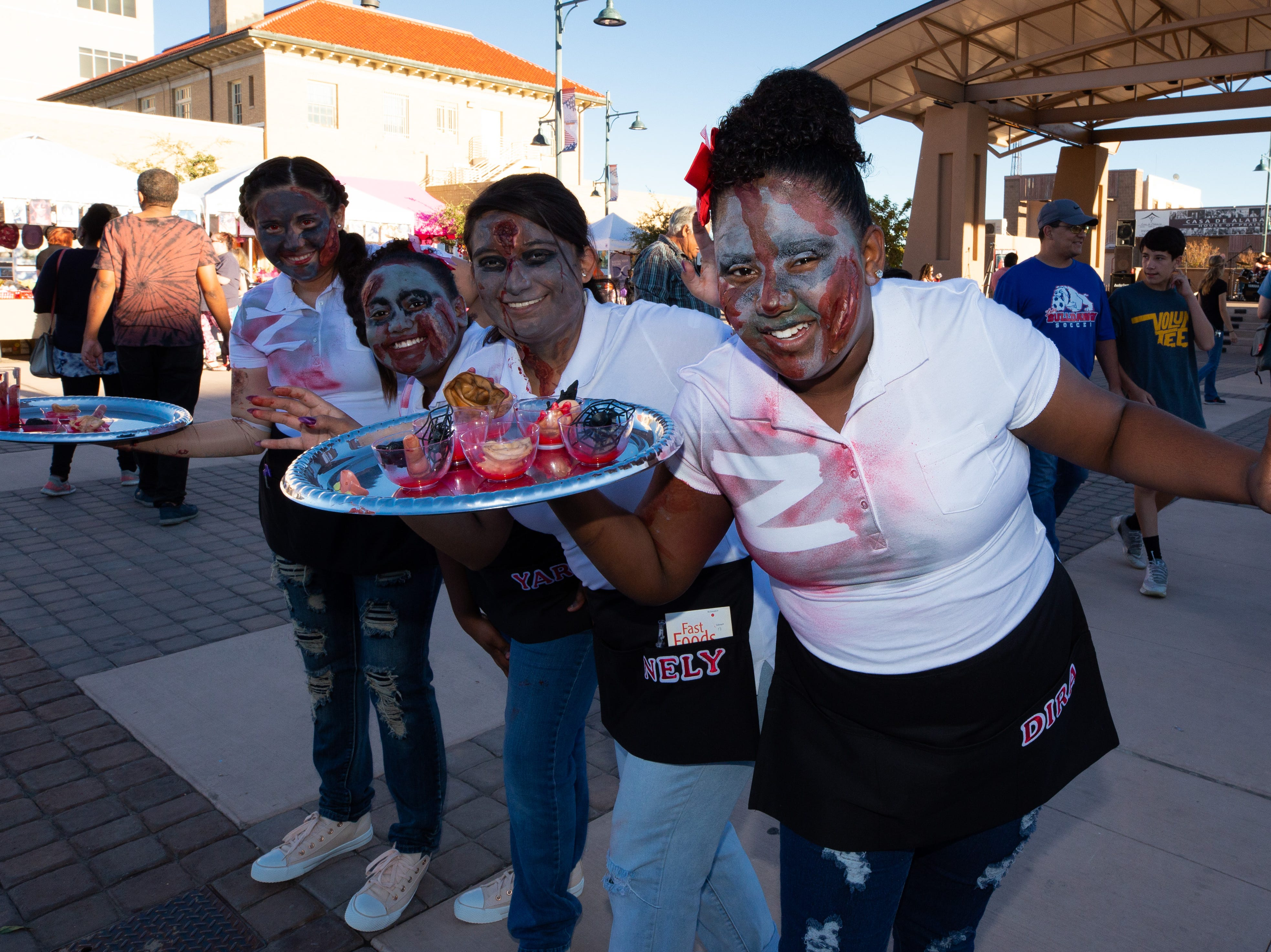 The zombie waitresses from Zombie Nation at the at the 2018 Zombie Walk held on Saturday, Oct. 27, 2018. From left: Yari Lujan, Yeneli Lujan, Yareli Strong, 9, and Yadira Strong, 10.