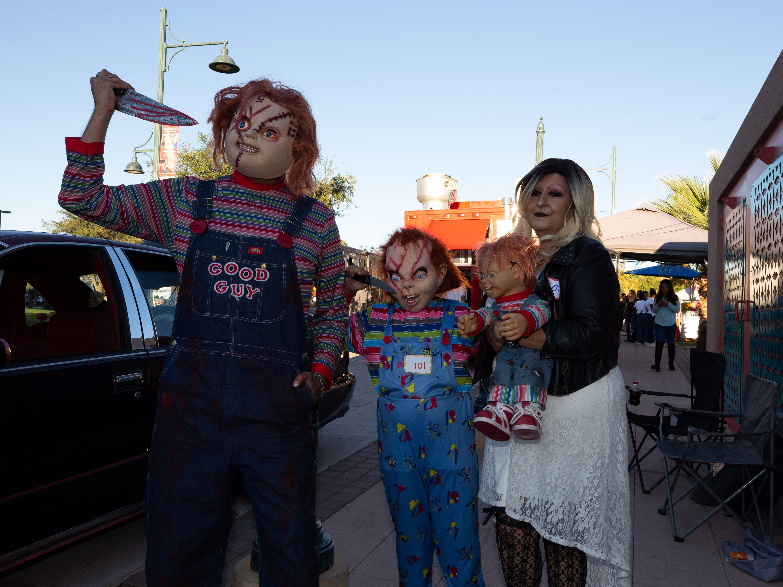 "Chucky and family at the 2018 Zombie Walk. From left, Ricky Ricardo, Thiago Ricardo, 9, Patsy Sanchez and ""Chucky."" The 2018 Zombie Walk was held on Saturday, Oct. 27, 2018."