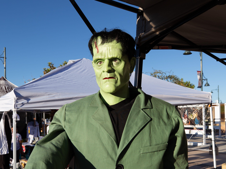 Frankenstein awaits sundown at the 2018 Zombie Walk, held on Saturday, Oct. 27, 2018.