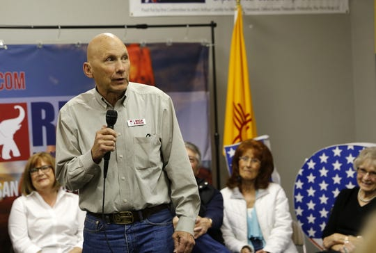 U.S. Senate candidate Mick Rich addresses the crowd during a campaign event at the Republican Party of San Juan County headquarters in Farmington.