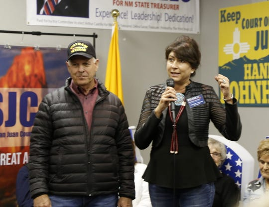 Republican gubernatorial candidate Steve Pearce and lieutenant governor candidate Michelle Garcia Holmes campaign Saturday at the Republican Party of San Juan County headquarters in Farmington.