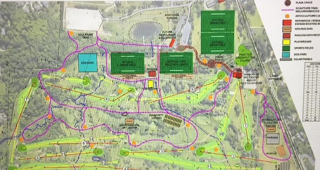 An aerial map of the proposed Hilltop Golf Course development.