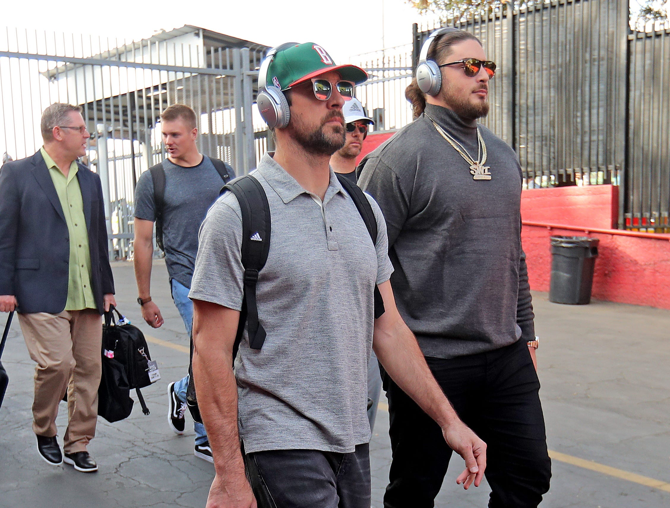 Green Bay Packers quarterback Aaron Rodgers (12) and offensive tackle David Bakhtiari (69) arrive for the game against the LA Rams Sunday, October 28, 2018 at the Memorial Coliseum in Los Angeles.