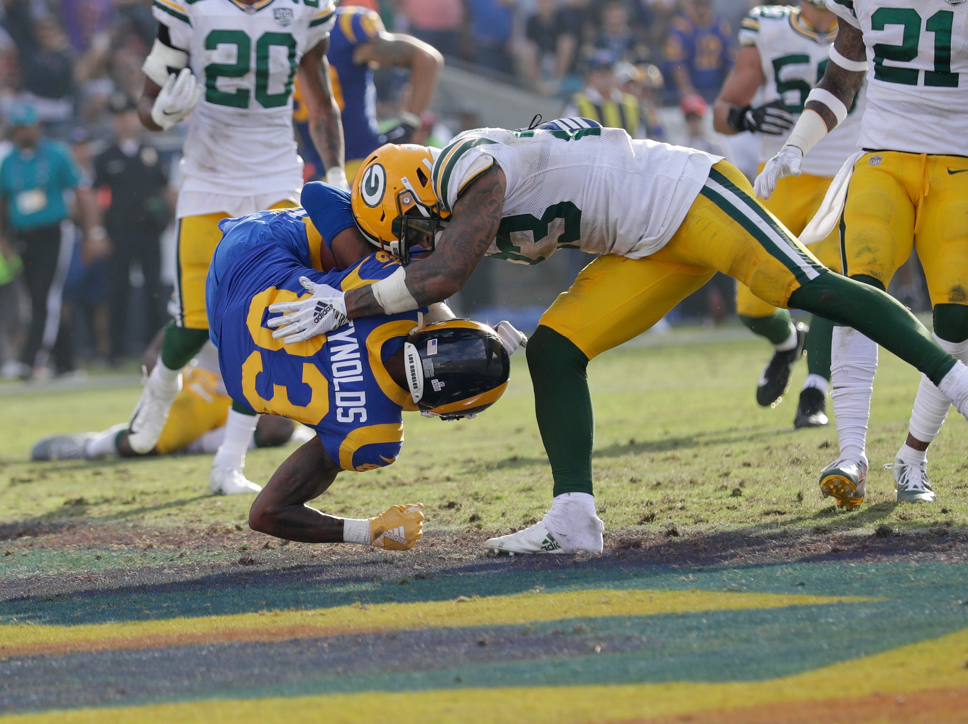 Los Angeles Rams wide receiver Josh Reynolds leaps into the end zone for a touchdown during the second half of an NFL football game against the Green Bay Packers, Sunday, Oct. 28, 2018, in Los Angeles. (AP Photo/Marcio Jose Sanchez)