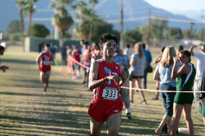Indio's Aaron Perez is second in the boys Desert Valley League cross county race on Saturday, October 27, 2018 in Palm Springs.