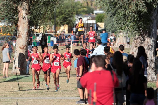 Indio runners dominate the boys Desert Valley League cross county race on Saturday, October 27, 2018 in Palm Springs.