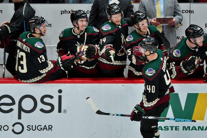 Oct 27, 2018; Glendale, AZ, USA; Arizona Coyotes right wing Michael Grabner (40) celebrates with teammates after scoring a short handed goal during the third period against the Tampa Bay Lightning at Gila River Arena. Mandatory Credit: Matt Kartozian-USA TODAY Sports