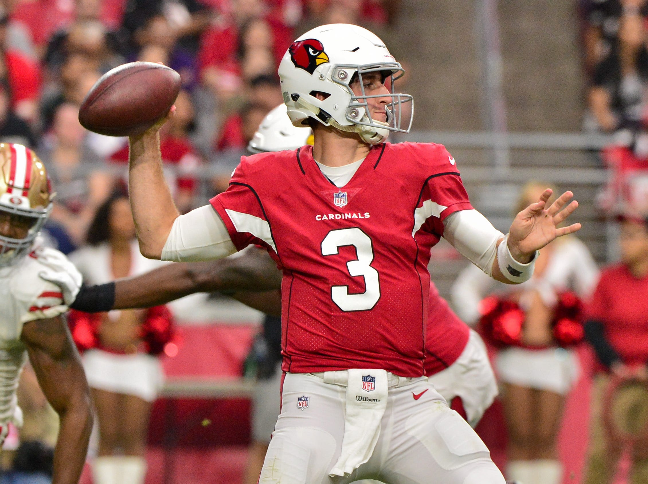 Oct 28, 2018; Glendale, AZ, USA; Arizona Cardinals quarterback Josh Rosen (3) throws and interception during the first half against the San Francisco 49ers at State Farm Stadium.
