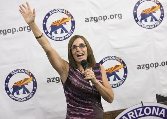 U.S. Senate candidate Martha McSally speaks at the Arizona GOP headquarters in Phoenix, Ariz. on Oct. 27, 2018.