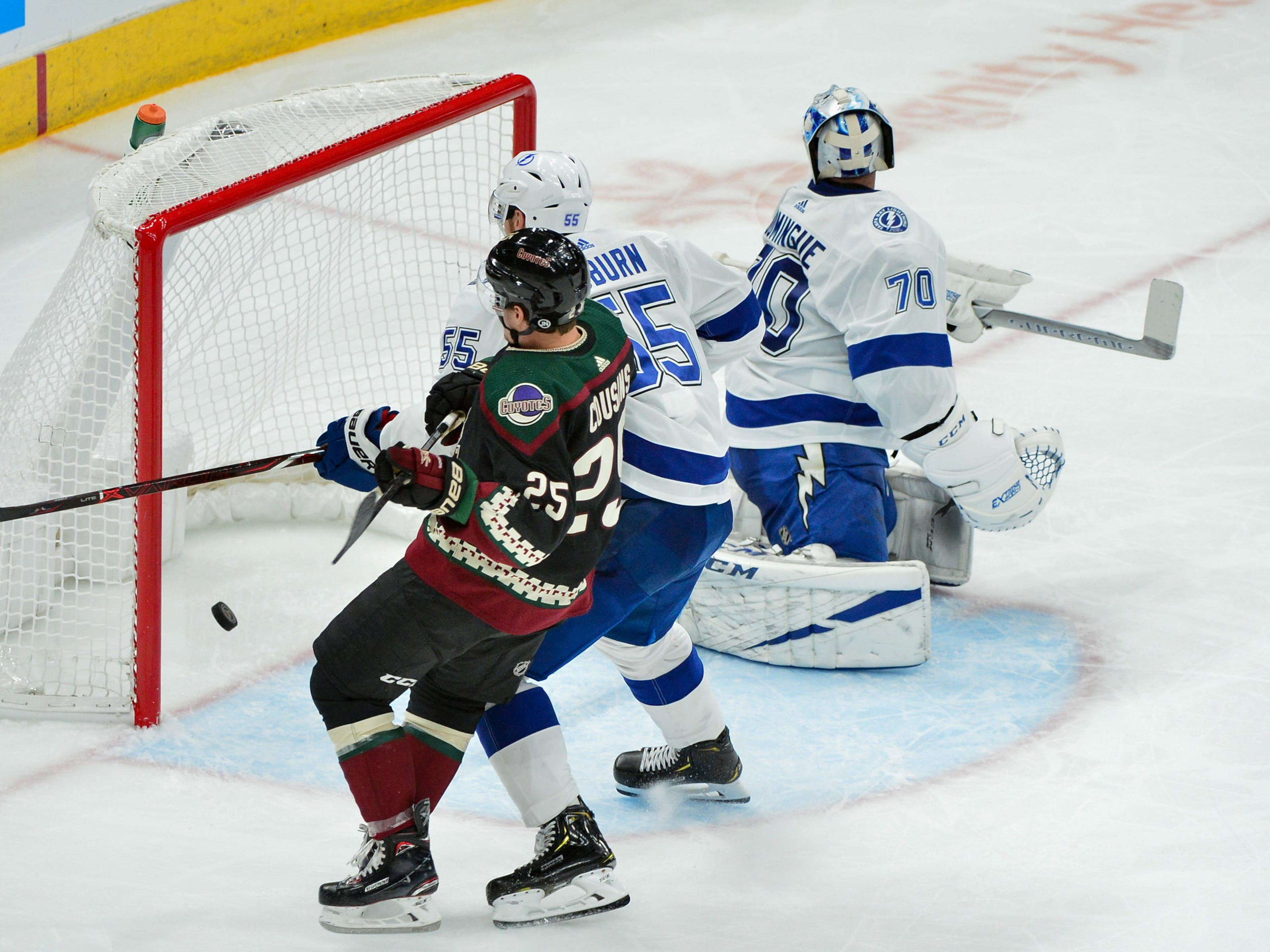 Oct 27, 2018; Glendale, AZ, USA; Arizona Coyotes center Vinnie Hinostroza (not pictured) scores a goal on Tampa Bay Lightning goaltender Louis Domingue (70) during the second period at Gila River Arena. Mandatory Credit: Matt Kartozian-USA TODAY Sports