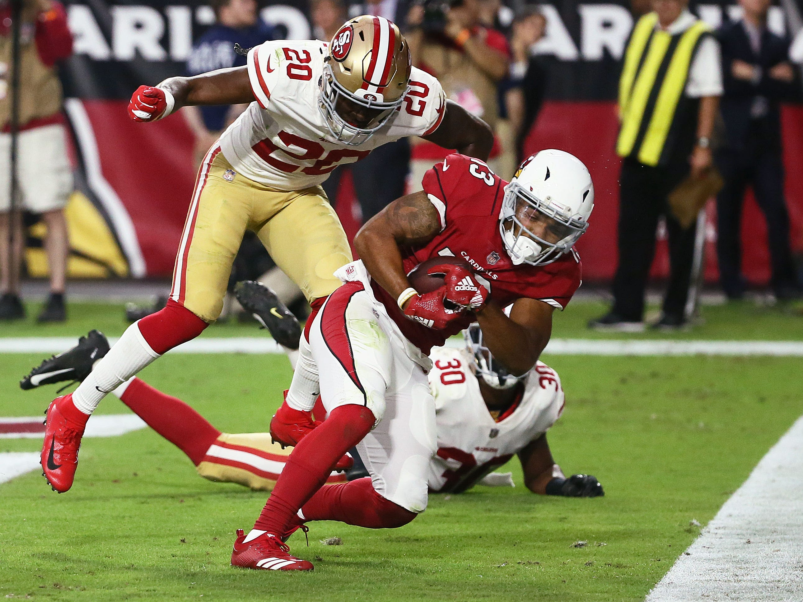 Arizona Cardinals wide receiver Christian Kirk catches the game winning touchdown from quarterback Josh Rosen against the San Francisco 49ers in the fourth quarter during a game on Oct. 28 at State Farm Stadium.