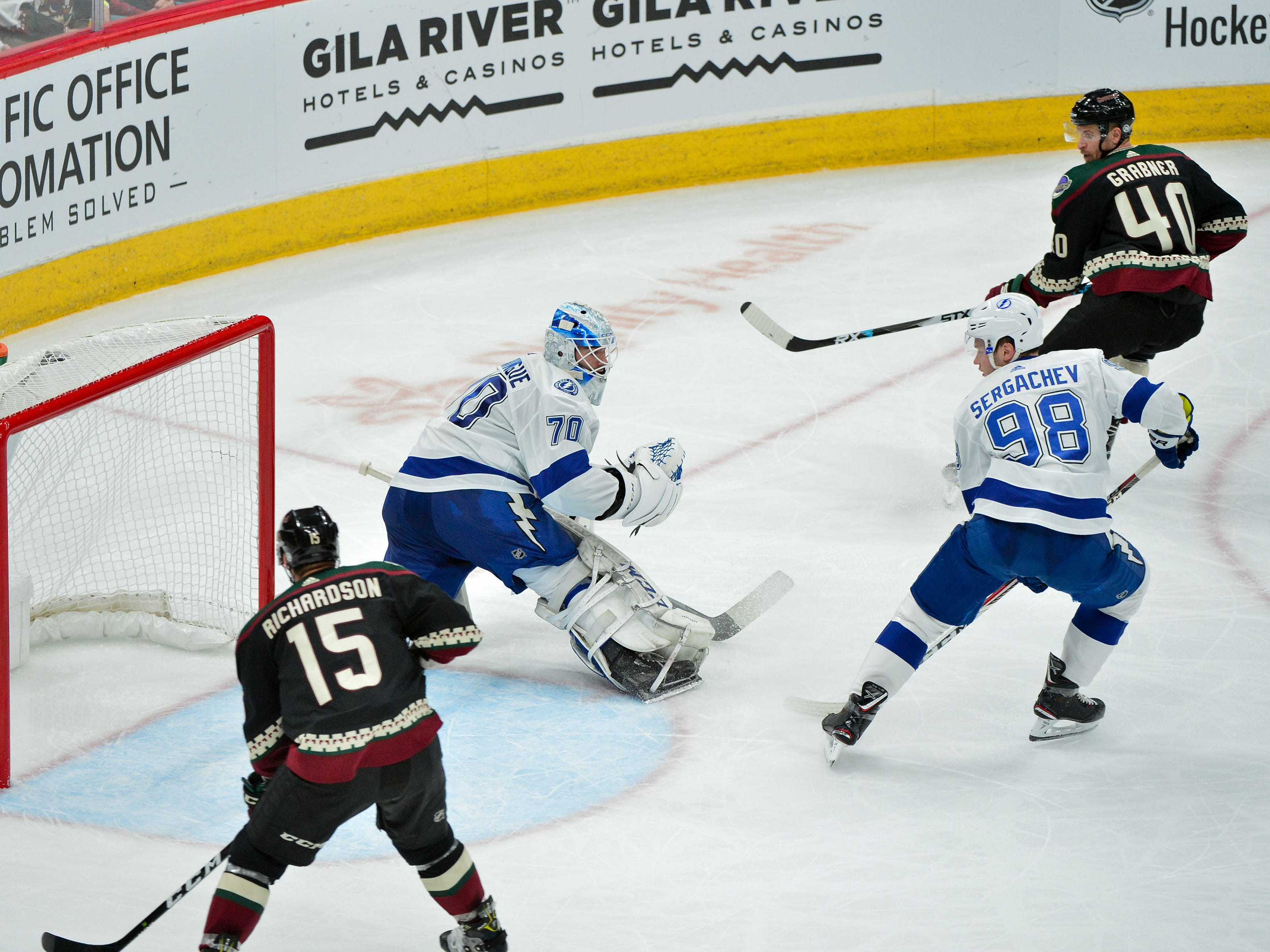 Oct 27, 2018; Glendale, AZ, USA; Arizona Coyotes right wing Michael Grabner (40) scores a short handed goal on Tampa Bay Lightning goaltender Louis Domingue (70) during the second period at Gila River Arena. Mandatory Credit: Matt Kartozian-USA TODAY Sports