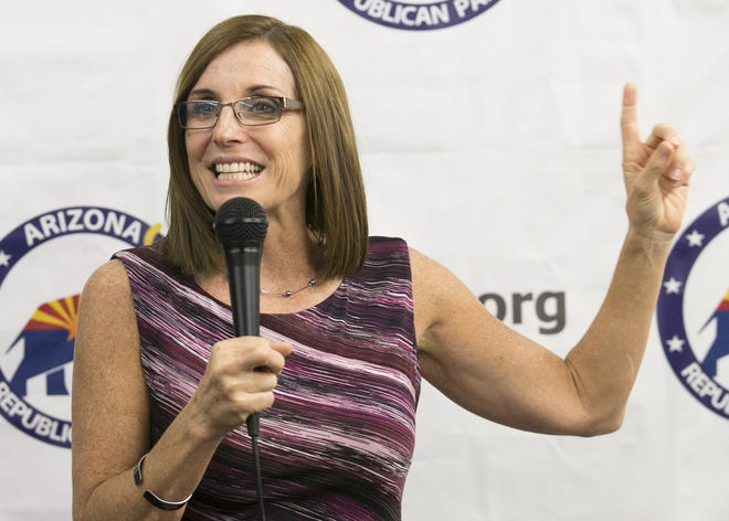U.S. Senate candidate Martha McSally speaks at the Arizona GOP headquarters in Phoenix on Oct. 27, 2018.