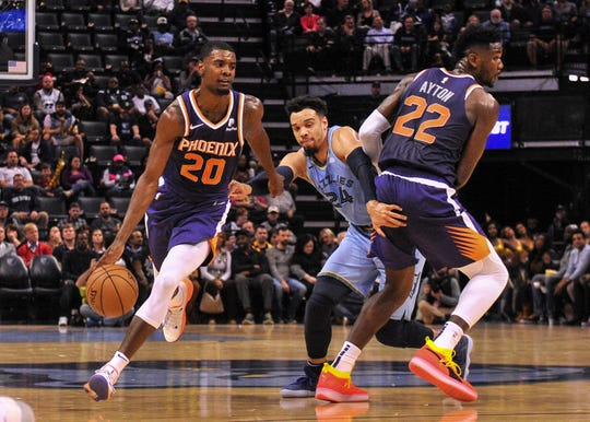 Oct 27, 2018; Memphis, TN, USA; Phoenix Suns forward Josh Jackson (20) dribbles the ball past Memphis Grizzlies guard Dillon Brooks (24) during the first half at FedExForum. Mandatory Credit: Justin Ford-USA TODAY Sports