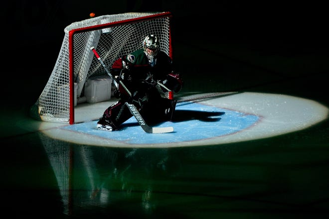 Oct 27, 2018; Glendale, AZ, USA; Arizona Coyotes goaltender Antti Raanta (32) looks on prior to the game against the Tampa Bay Lightning at Gila River Arena. Mandatory Credit: Matt Kartozian-USA TODAY Sports