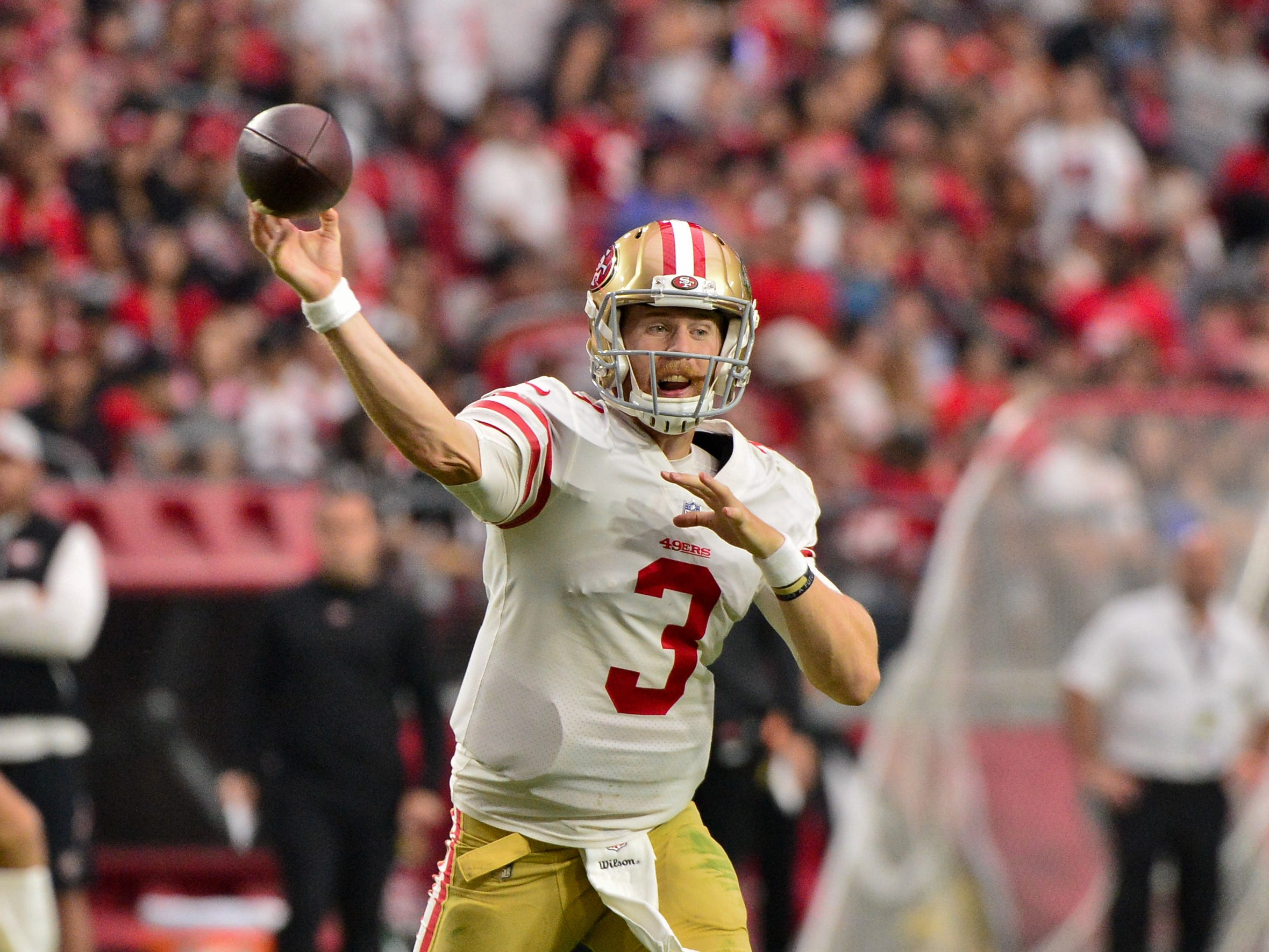 Oct 28, 2018; Glendale, AZ, USA; San Francisco 49ers quarterback C.J. Beathard (3) throws during the first half against the Arizona Cardinals at State Farm Stadium.