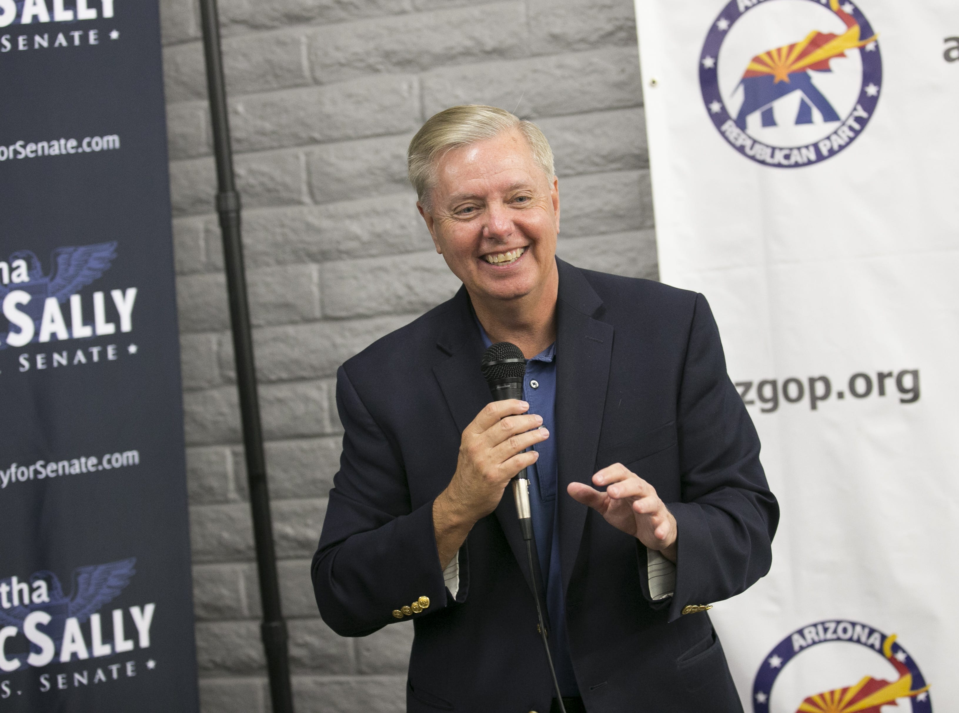 Sen. Lindsey Graham, R-S.C. speaks at the Arizona GOP headquarters in Phoenix, Ariz. on Oct. 27, 2018.