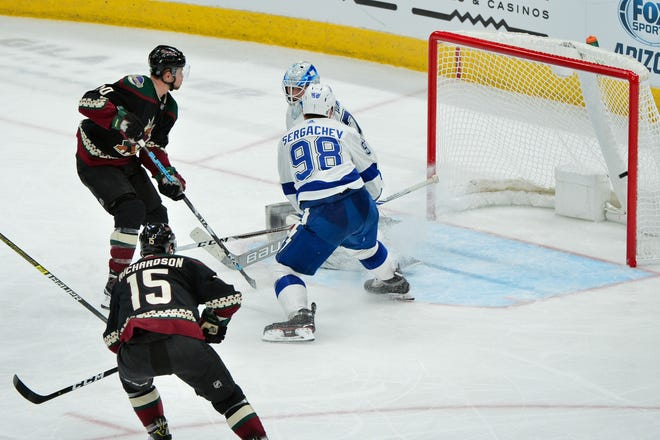 Coyotes forward Michael Grabner scores a short-handed goal against the Lightning during the third period of a game on Oct. 27.