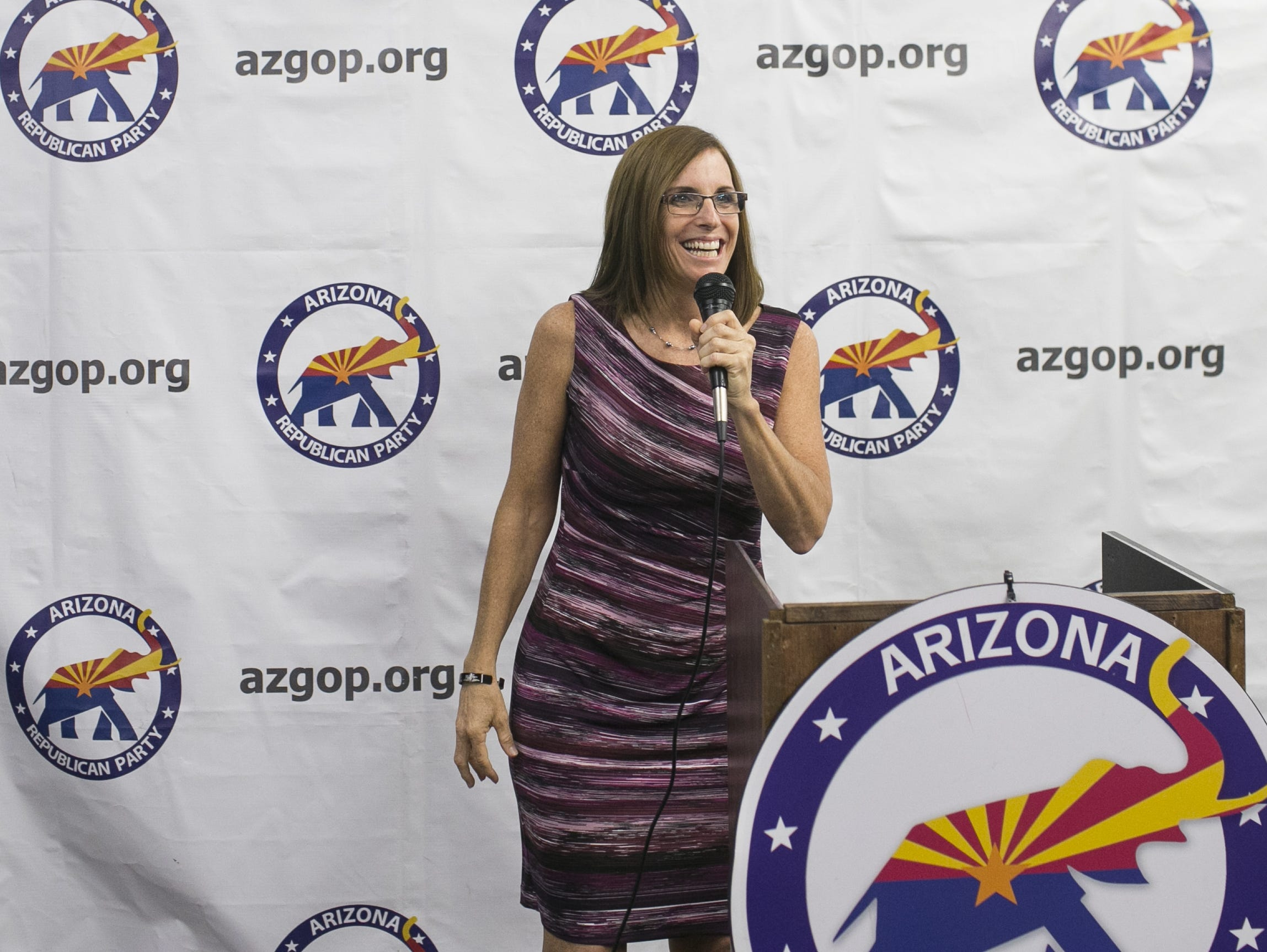 U.S. Senate candidate Martha McSally speaks at the Arizona GOP headquarters in Phoenix, Ariz. on Oct. 27, 2018.