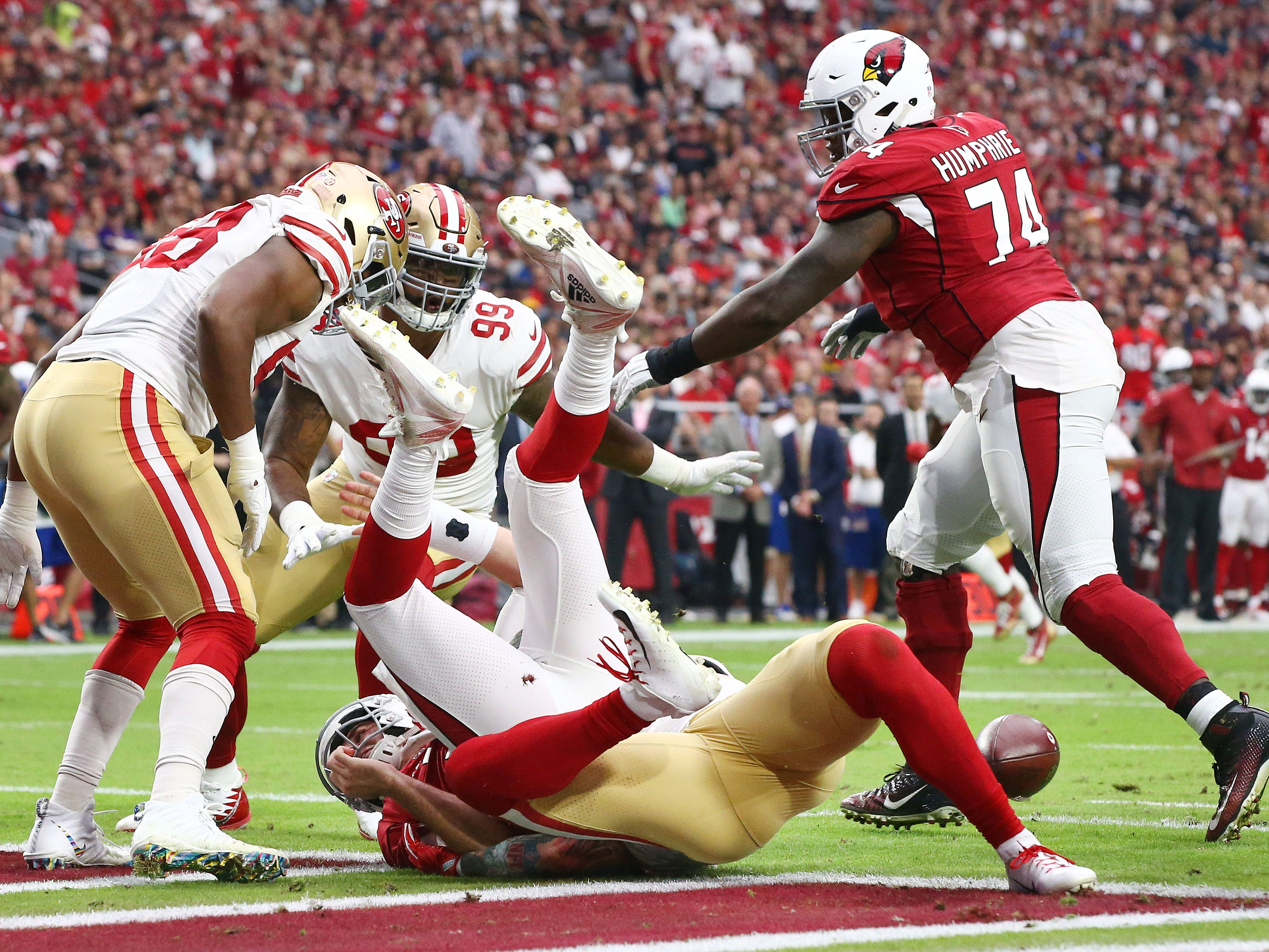 Arizona Cardinals quarterback Josh Rosen ntentionally grounded the ball in the end zone giving a safety to the San Francisco 49ers in the first half during a game on Oct. 28 at State Farm Stadium.