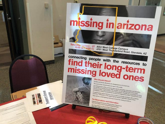 A Missing in Arizona event flier at Arizona State University's West campus on Oct. 27 in Glendale.