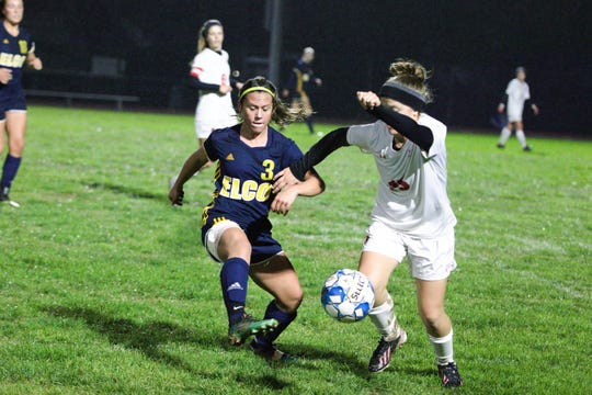 Elco's Katelyn Rueppel pressures the ball on Saturday night during the Raiders' 7-0 win over Pequea Valley.