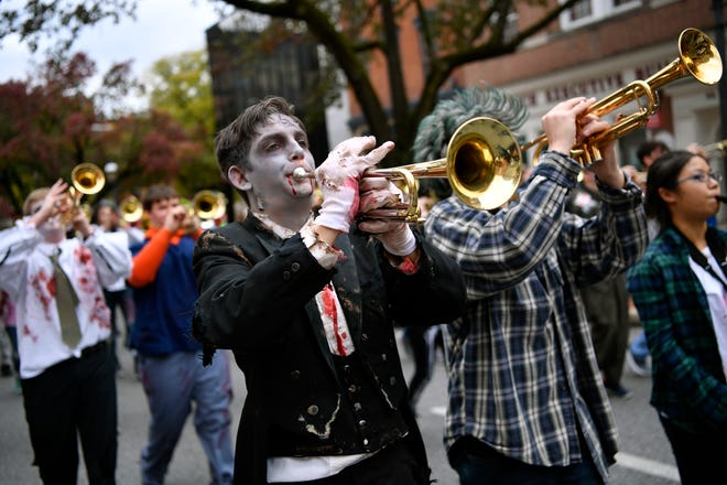 """The Central York Marching Band plays the Michael Jackson classic, """"Thriller"""" during the York Halloween Parade, Sunday, October 28, 2018. John A. Pavoncello photo"""