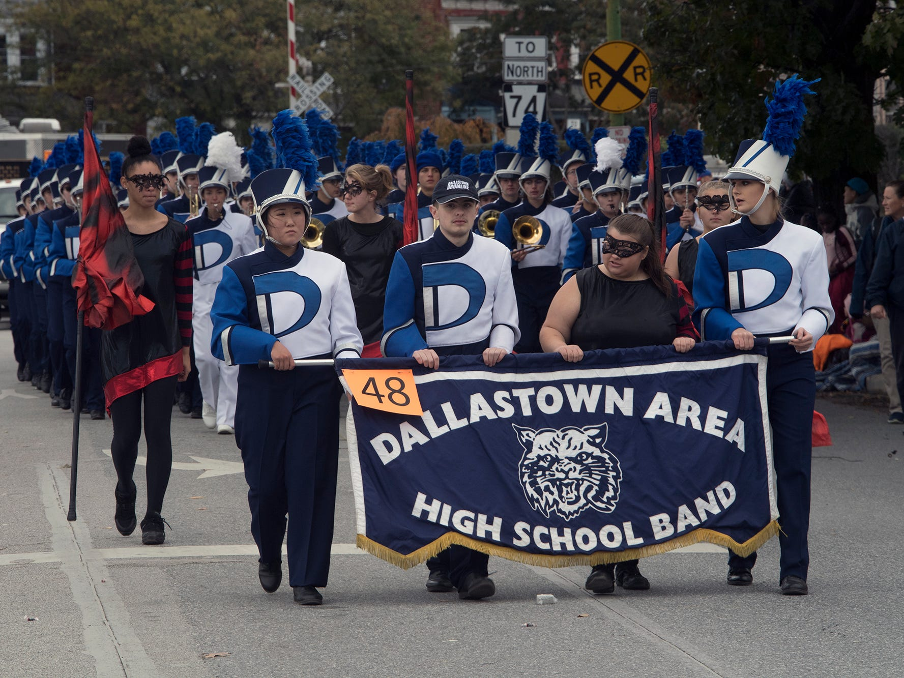 Dallastown Area High School High School Band marches during the 69th Annual York Halloween Parade.