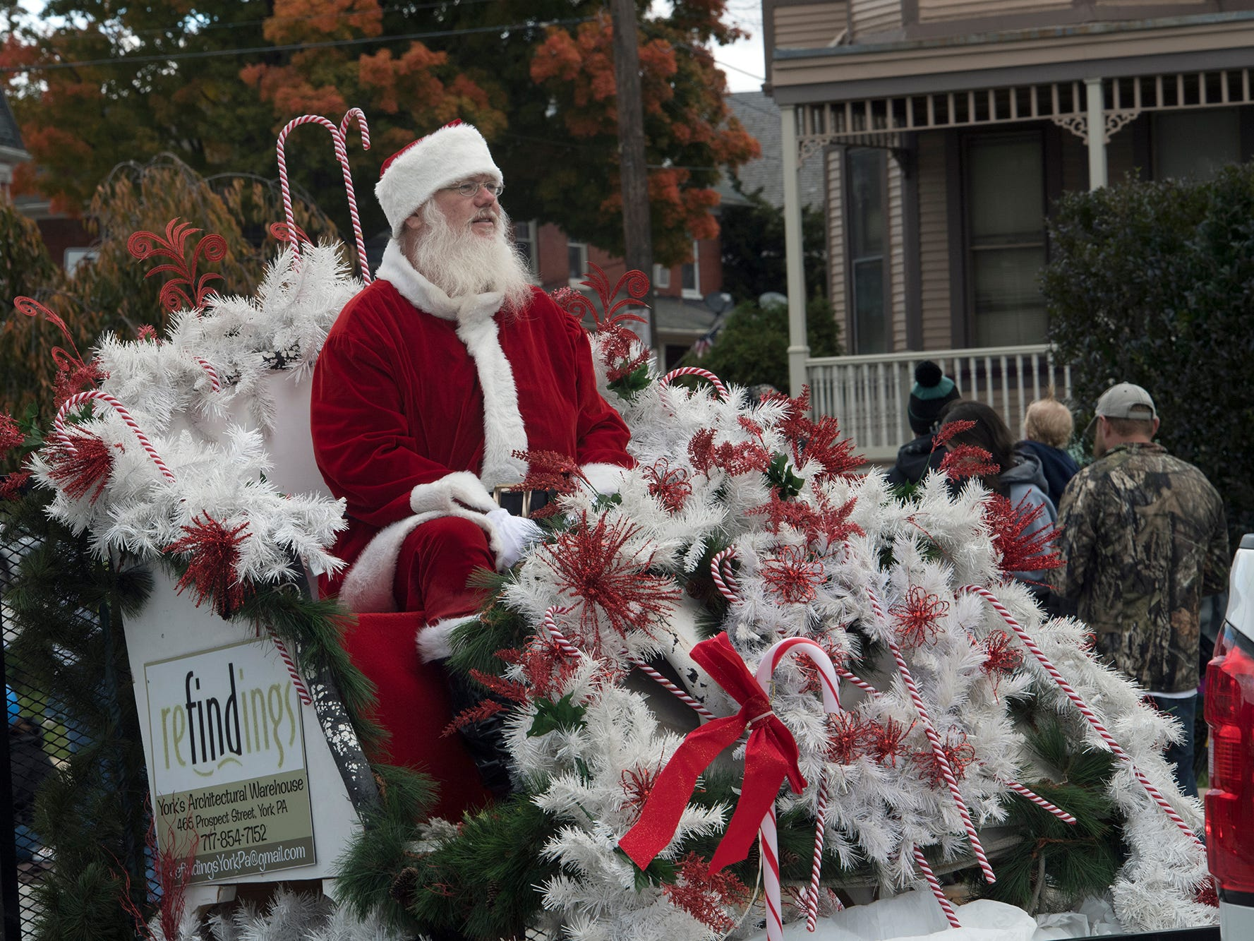 The refindings sleigh with Santa ends the parade the 69th Annual York Halloween Parade presented by York Traditions Bank Sunday in York.