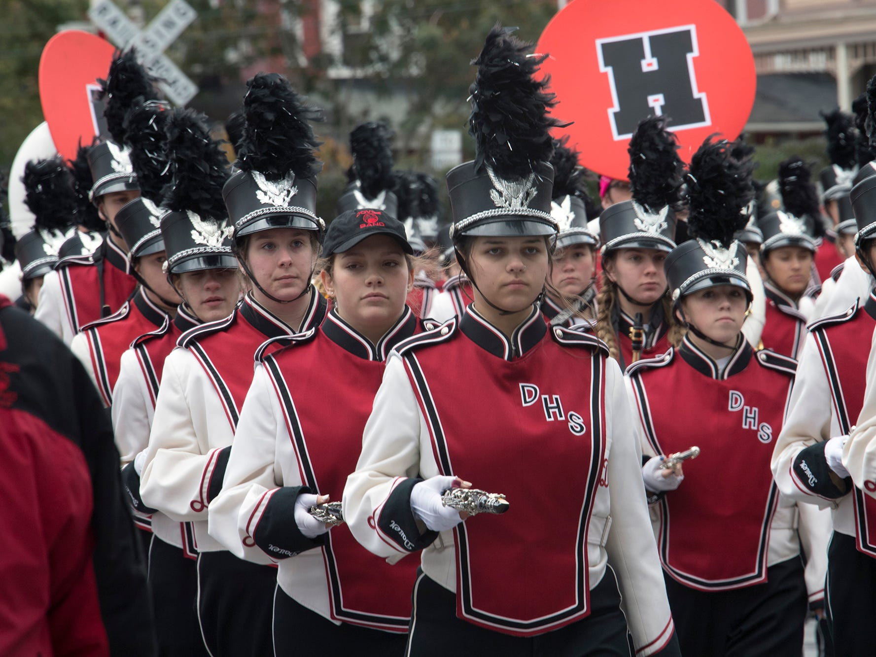 Dover Area High School marches during the 69th Annual York Halloween Parade presented by York Traditions Bank Sunday in York.