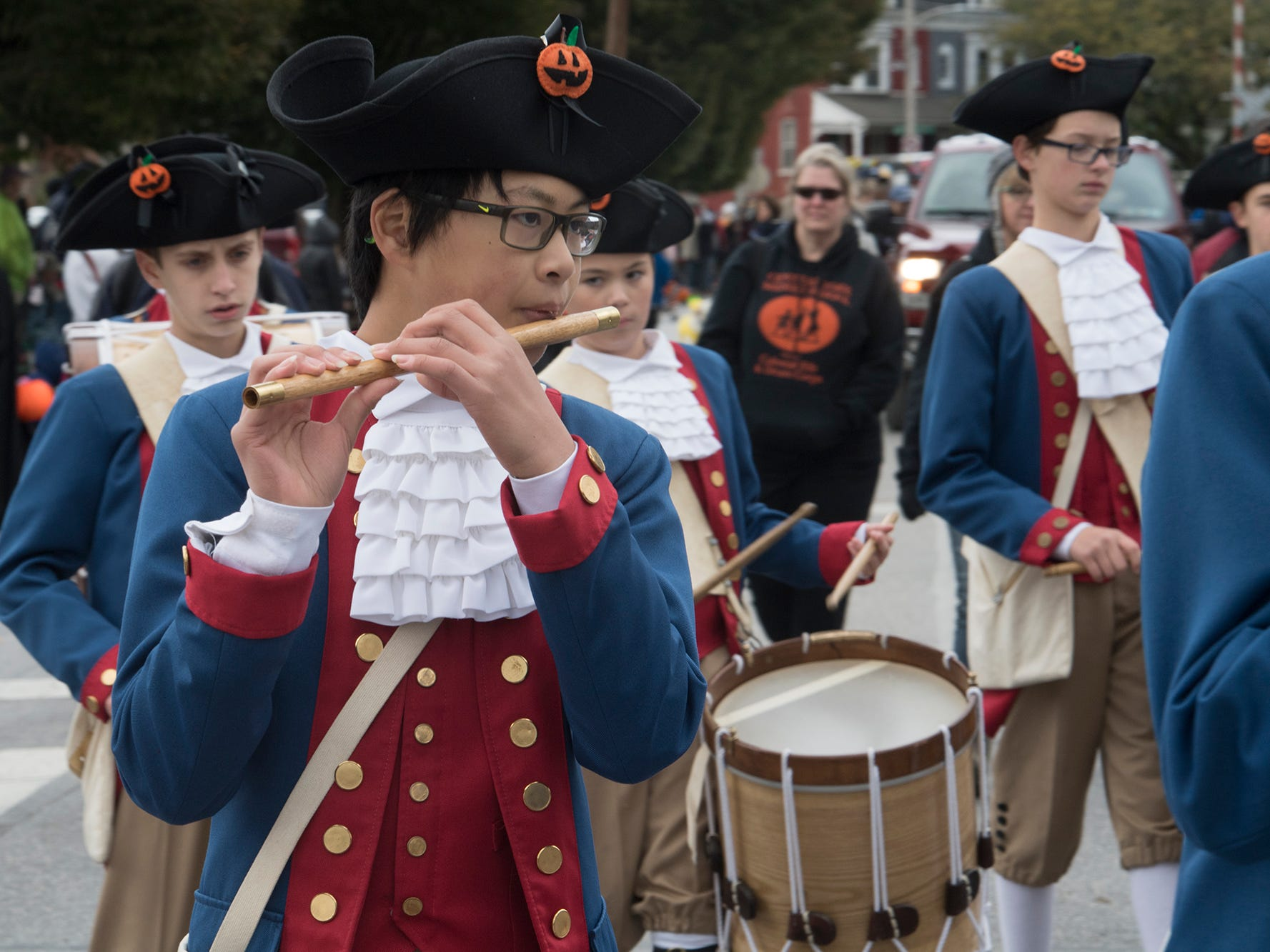 Central York Middle School Colonial Fife & Drum Corps perform during the 69th Annual York Halloween Parade.
