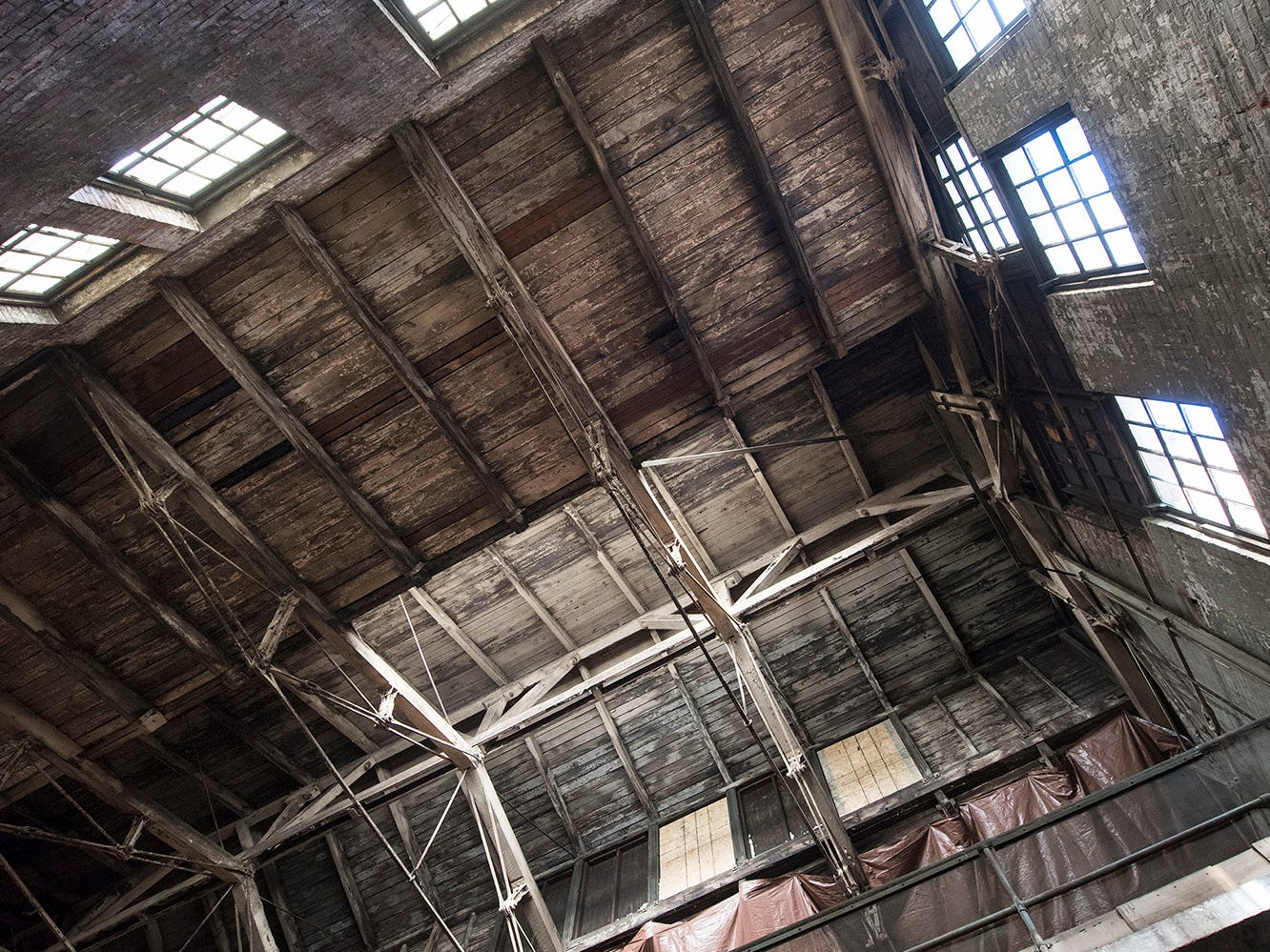 Looking up at the multi-tired roof inside the foundry building at 145 North Hartley Street in York. The 54,000-square-foot building has been gutted and refurbished however, no initial plans have been made for the site.