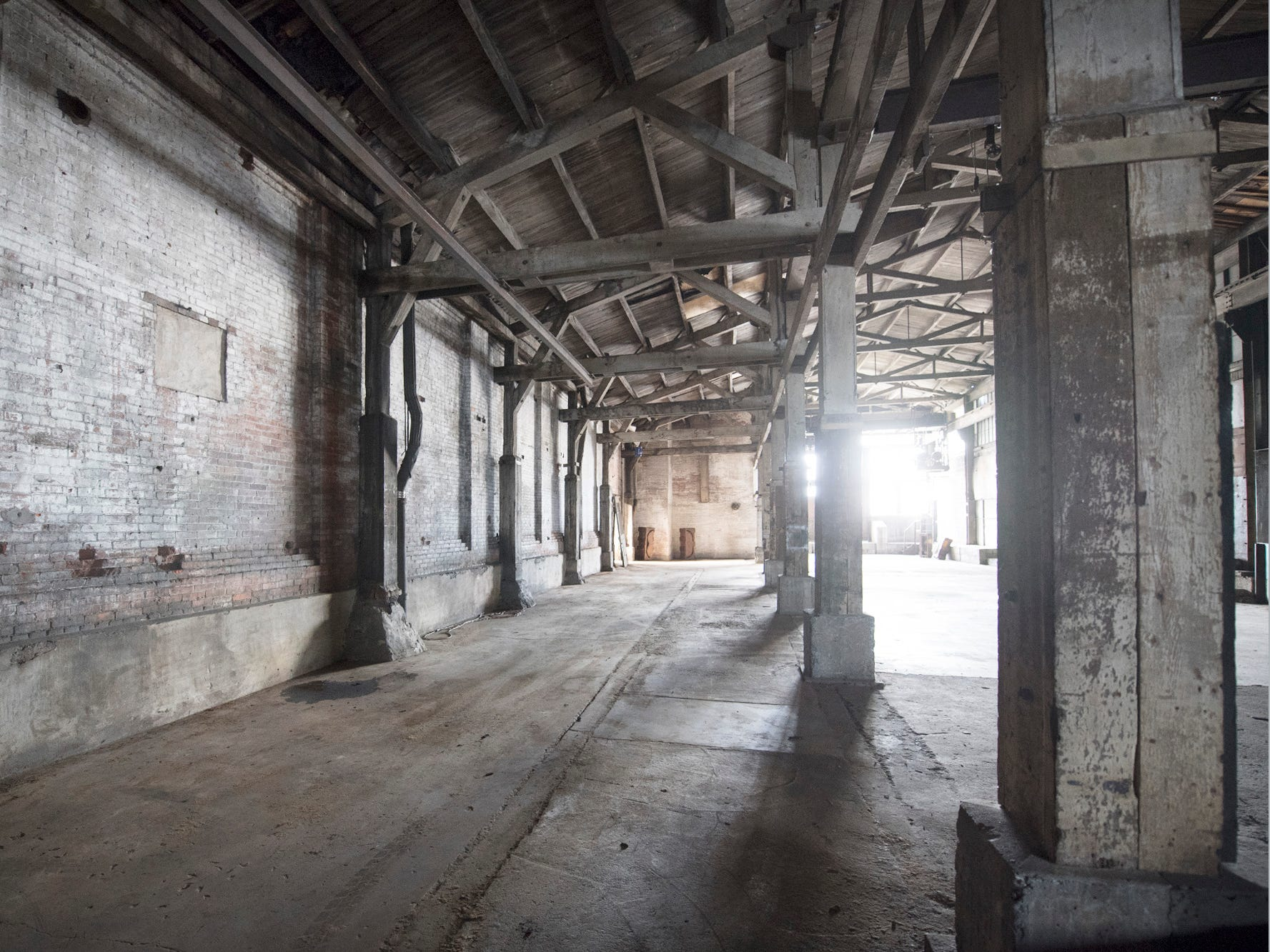 Light pours inside the gutted foundry building at 145 North Hartley Street in York. The 54,000-square-foot building has been gutted and refurbished however, no initial plans have been made for the site.