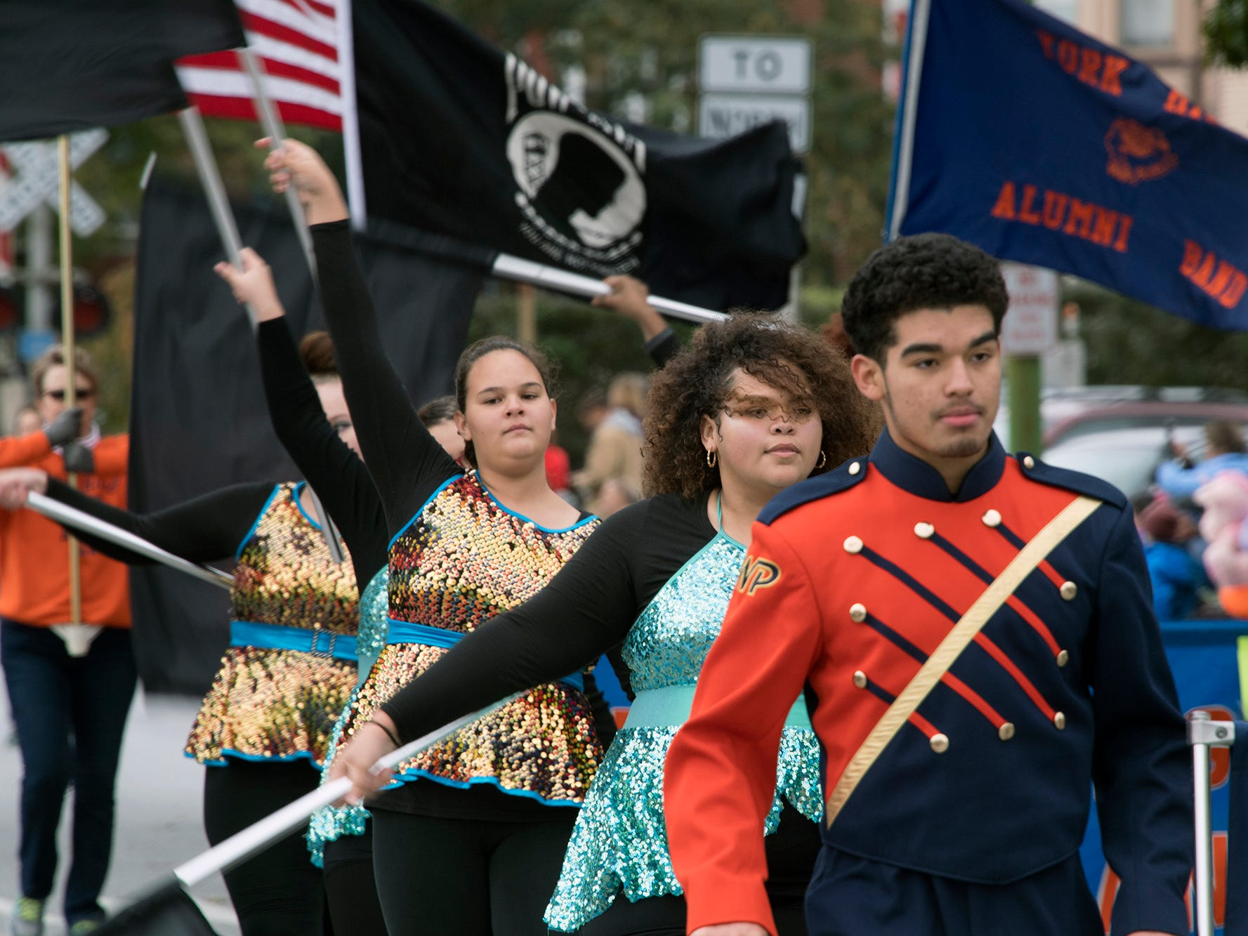 William Penn High School Bearcat Marching Band walks during the 69th Annual York Halloween Parade presented by York Traditions Bank Sunday in York.
