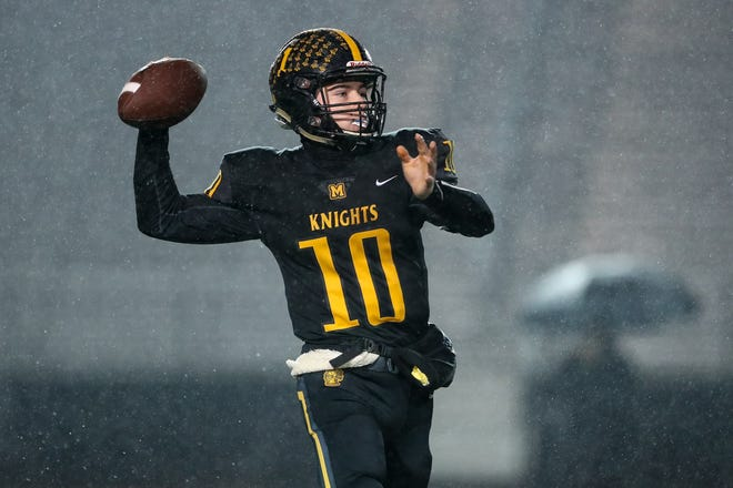 October 27, 2018; Brockport, NY; USA; McQuaid quarterback Hunter Walsh (10) throws a pass against Hilton during a Section V Class AA semifinal high school football game at Brockport College.  Photo: Christopher Cecere
