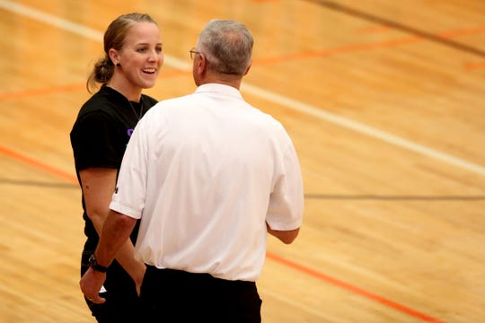 Sprague head coach Anne Olsen talks to a referee during the Bend vs. Sprague volleyball game in the second round of the OSAA Class 6A state playoffs at Sprague High School in Salem on Saturday, Oct. 27, 2018. Sprague won in three sets. They will now face Central Catholic in the quarterfinals on Nov. 2.