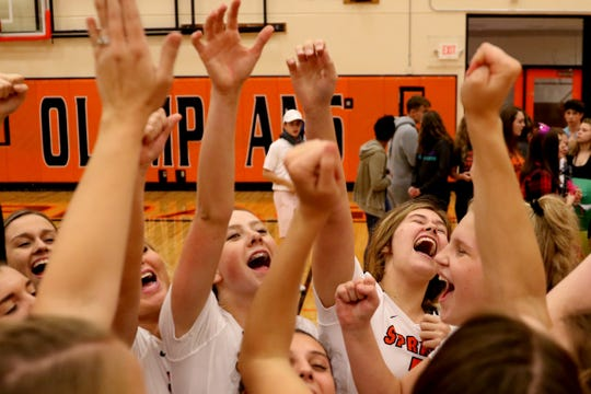 Sprague celebrates following the Bend vs. Sprague volleyball game in the second round of the OSAA Class 6A state playoffs at Sprague High School in Salem on Saturday, Oct. 27, 2018. Sprague won in three sets. They will now face Central Catholic in the quarterfinals on Nov. 2.