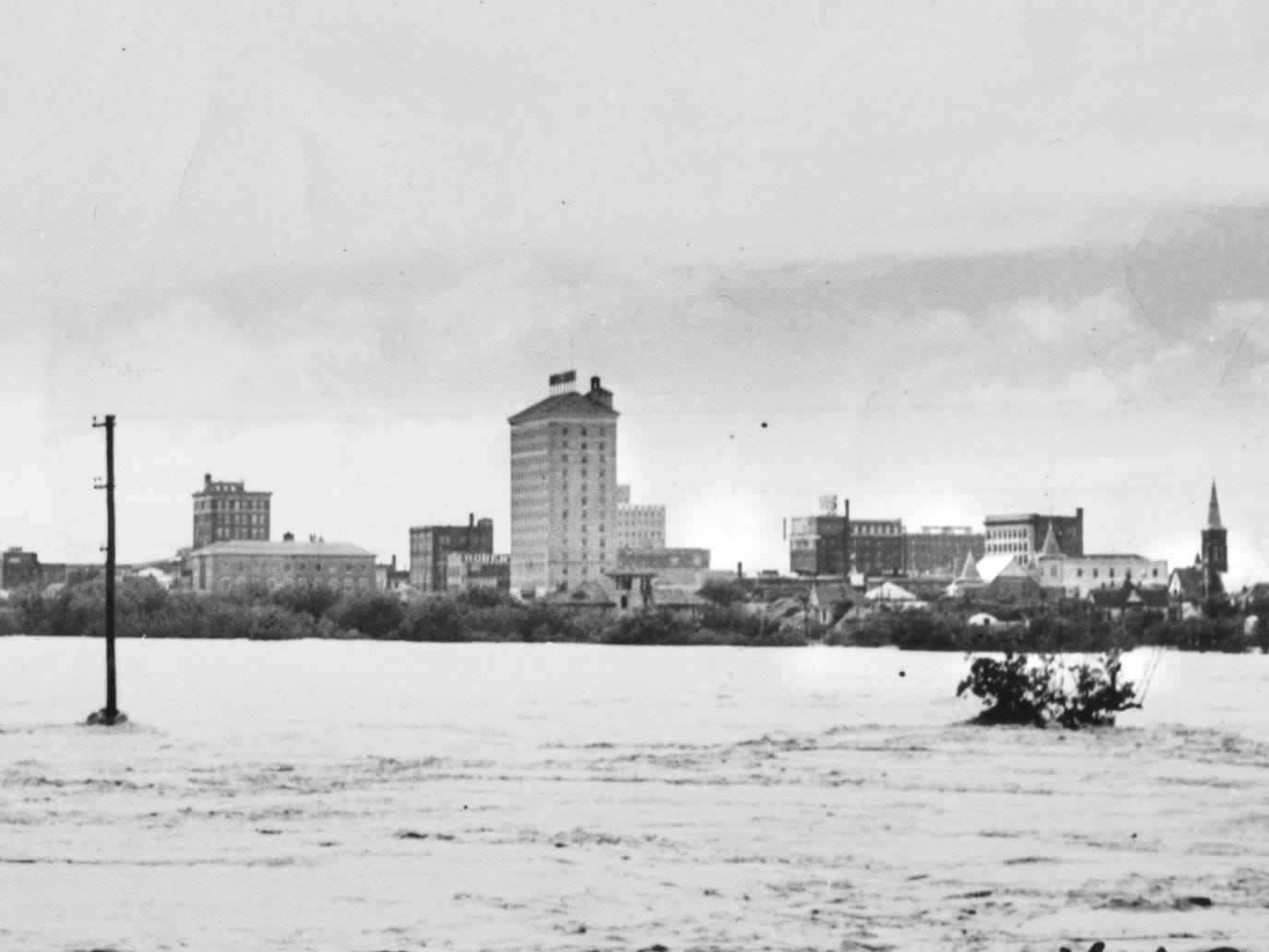 San Angelo surrounded by flood waters in 1936.
