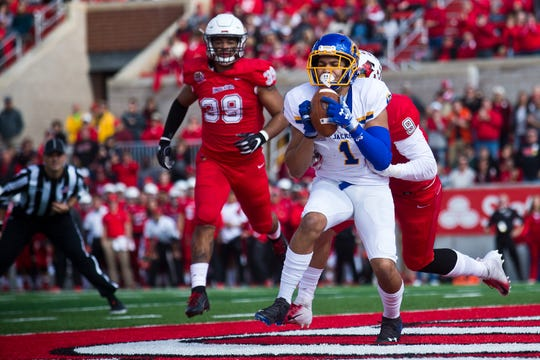 South Dakota State wide receiver Jacob Brown catches a touchdown pass in front of Illinois State's Zackary Mathews during their Missouri Valley Football Conference game Saturday, Oct. 27, 2018, at Hancock Stadium in Normal, Ill. The Jackrabbits emerged victorious, 38-28.
