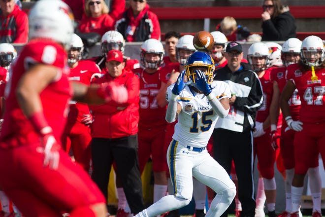 South Dakota State wide receiver Cade Johnson hauls in a pass during the Jackrabbits' 38-28 Missouri Valley Football Conference victory over Illinois State on Saturday, Oct. 27, 2018, at Hancock Stadium in Normal, Ill.