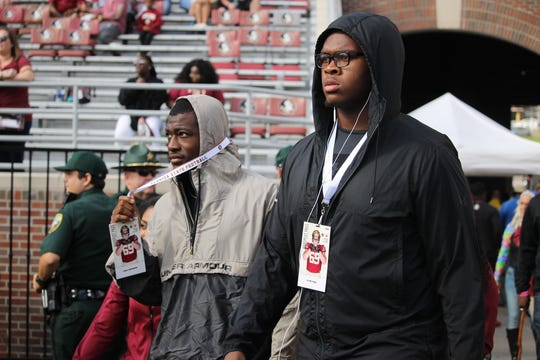 Five-stars Evan Neal and Trey Sanders visit FSU for the Clemson game in 2018.