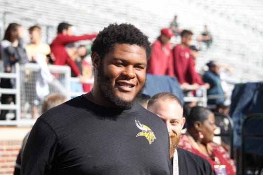 2019 four-star FSU offensive guard commit Dontae Lucas visits FSU for the Clemson game in 2018.