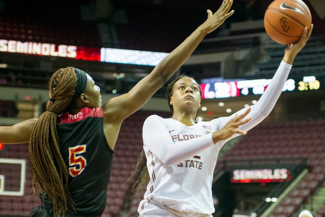 FSU forward Valencia Myers attacks the rim in the Seminoles' exhibition win over Flagler College.