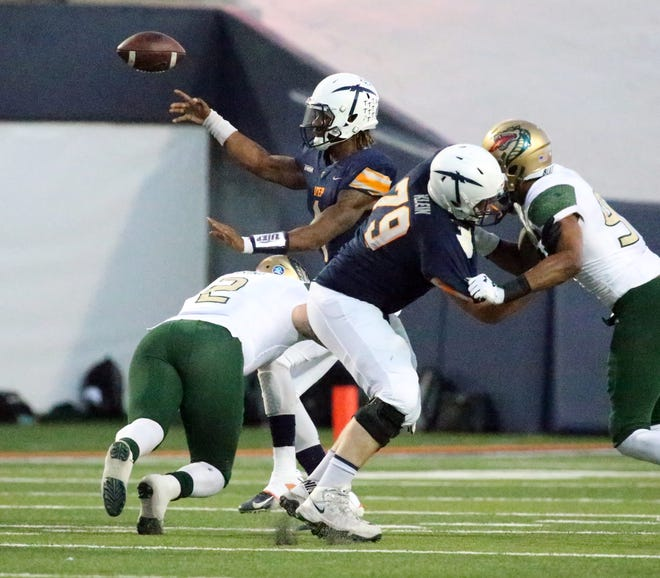 UTEP quarterback Kai Locksley fires downfield on a short pass against UAB Saturday.