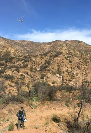 A Ventura County helicopter crew helped rescue a horseback rider thrown from a horse Sunday outside Ojai.