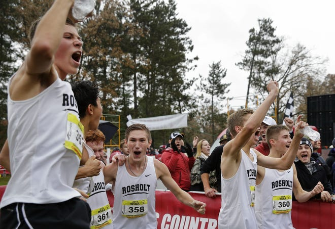 Members of the Rosholt boys cross country team celebrate as team results from the Divsion 3 race during the WIAA state cross country meet Saturday in Wisconsin Rapids. The Hornets finished second overall.