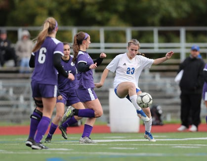 John Jay-Cross River defeats Pearl River 2-1 in double overtime in the girls Class A soccer sectional game at Arlington High School in Freedom Plains on Sunday, October 28, 2018.