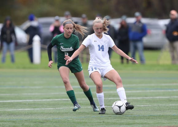 Bronxville defeats Pleasantville 3-1 to claim the girls Class B soccer sectional title at Arlington High School in Freedom Plains on Sunday, October 28, 2018.